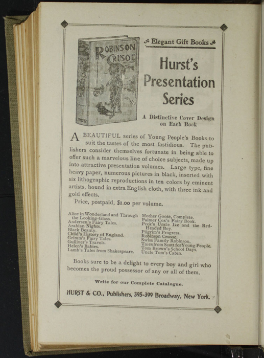Sixth Page of Back Advertisements in the [1900] Hurst & Co. Reprint, Version 1