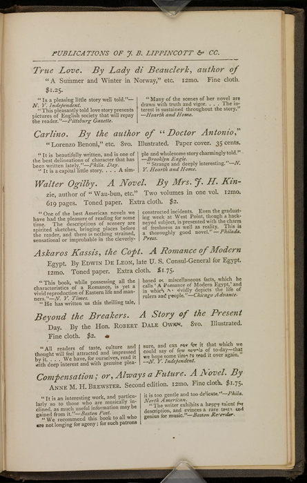 """Third Page of Back Advertisements in the 1871 J. B. Lippincott & Co. """"New Edition"""" Reprint"""