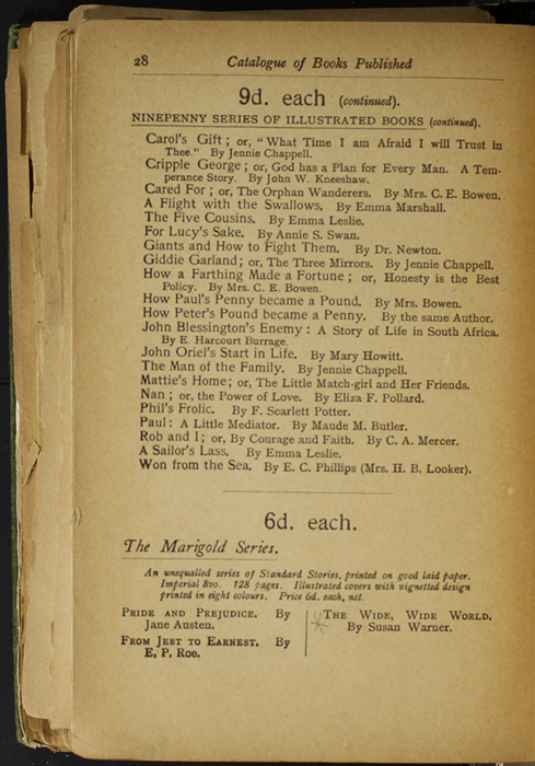 Twenty-Eight Page of Back Advertisements in the [1904] S. W. Partridge & Co. Reprint