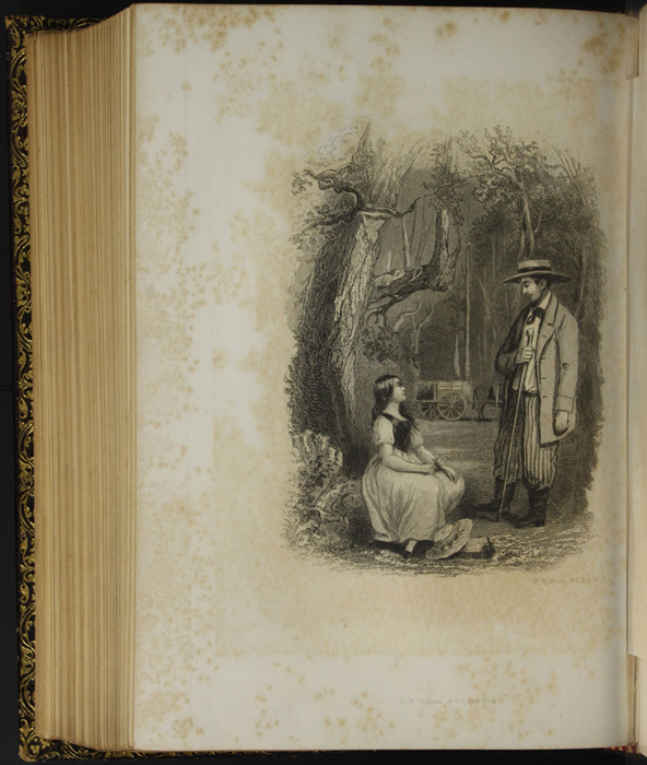 "Illustration on Page 52c of Volume 2 of the 1853 G.P. Putnam & Co. ""Illustrated Edition"" Reprint, Depicting Ellen in the Woods with Mr. Van Brunt"