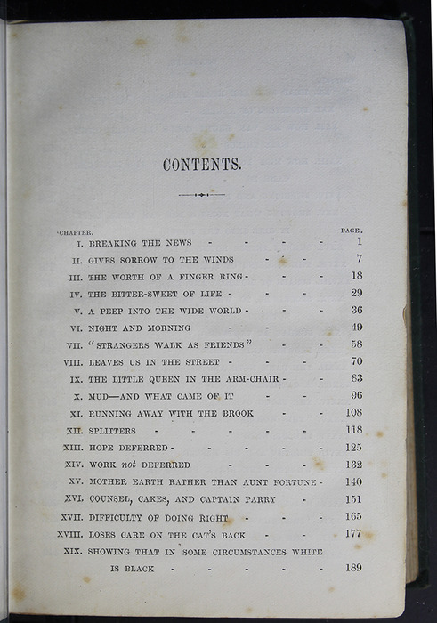 "First Page of the Table of Contents to the [1884] Frederick Warne & Co. ""Star Series"" Reprint"
