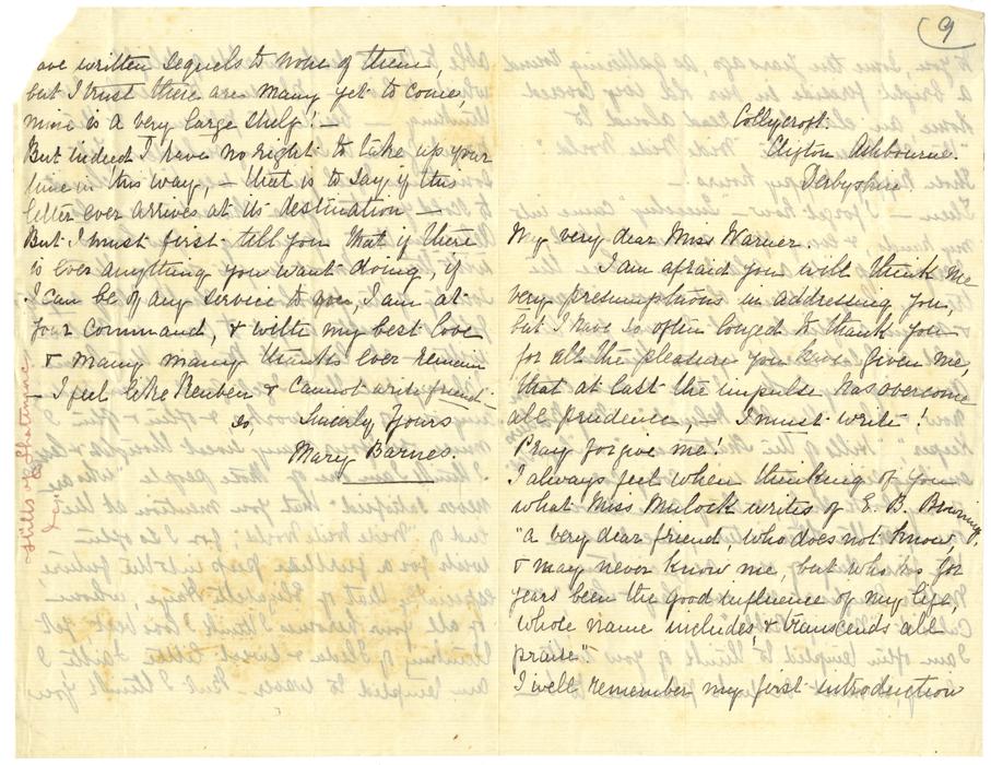 Mary Barnes to Susan Warner, Collycroft Clifton Ashbourne, Derbyshire, n.d.