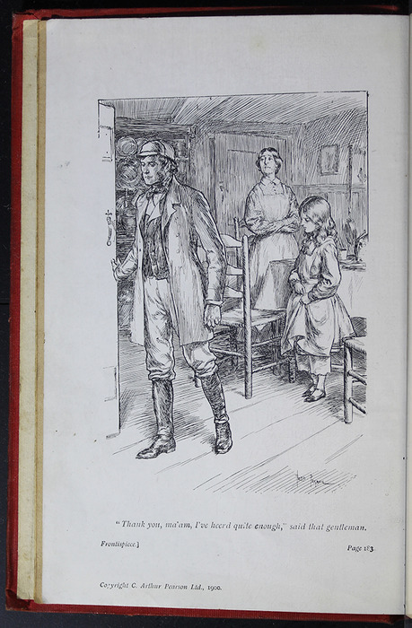 Frontispiece to the [1908] Seeley & Co. Ltd. Reprint Depicting  Mr. Van Brunt Scolding Aunt Fortune for Her Treatment of Ellen