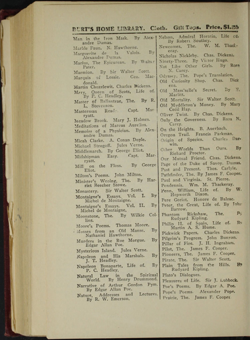 "Fourth Page of Back Advertisements in the [1898] A. L. Burt Co. ""The Home Library"" Reprint"