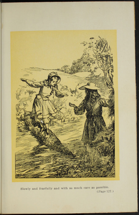 Illustration on Page 128a of the [1907] Grosset and Dunlap Reprint, Depicting Ellen and Nancy at the Brook