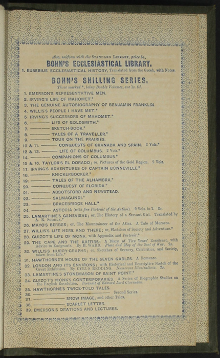 """First Page of Back Advertisements in the 1853 H. G. Bohn """"Standard Library"""" Reprint"""