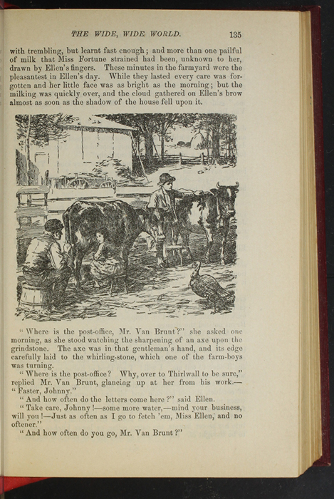 """Illustration of on Page 135 of the 1903 J. B. Lippincott Co. """"New Edition"""" Reprint Depicting Ellen in the Barnyard with Mr. Van Brunt"""