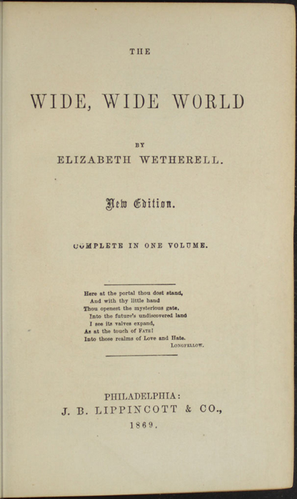 "Title Page to the 1869 J.B. Lippincott & Co. ""New Edition"""