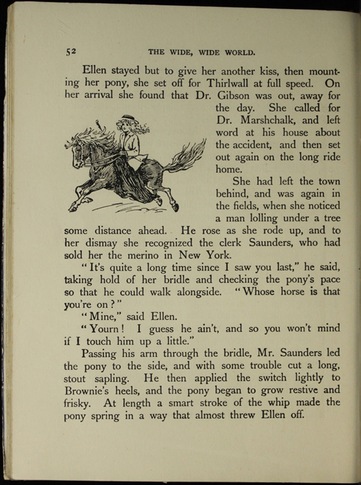 Illustration on page 52 of the [1918] Thomas Nelson & Sons, Ltd. Abridged Reprint Depicting Ellen Riding the Brownie