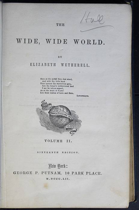 Title Page to Volume 2 of the 1852 George P. Putnam 16th Edition, Version 2