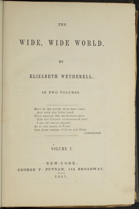 Title Page to Volume 1 of the 1851 George P. Putnam First Edition, Version 3