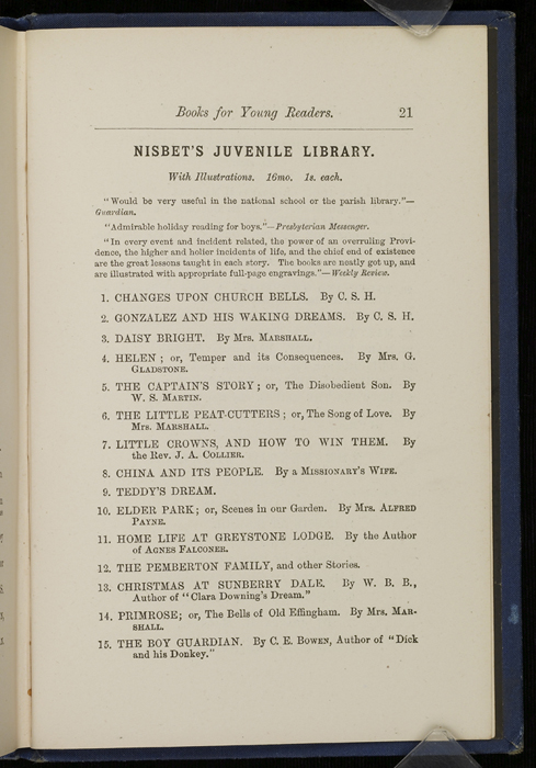 "Twenty-first Page of Back Advertisements in 1886 James Nisbet & Co. ""New ed. Golden Ladder Series"" Reprint"