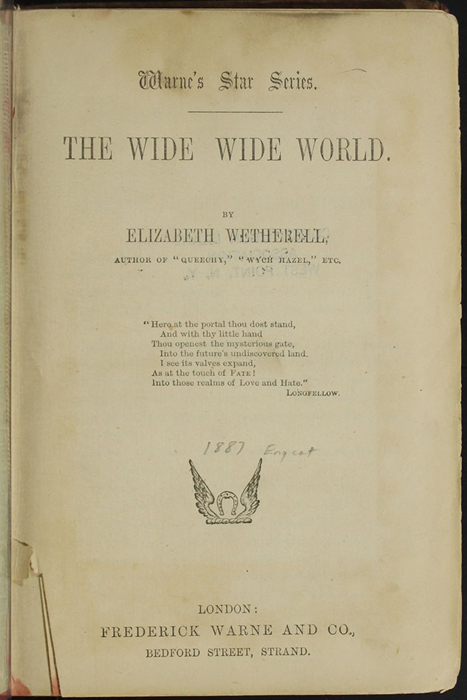 """Title Page to the [1890] Frederick Warne & Co. """"Star Series"""" Reprint"""