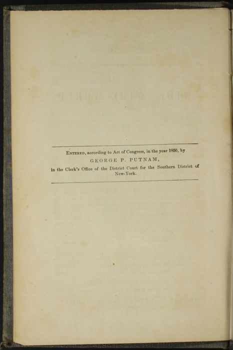 Copyright Page to Volume 2 of the 1851 George P. Putnam First Edition, Version 3
