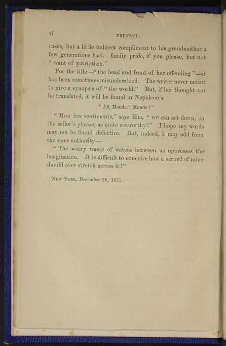 "Page vi of the Preface to 1853 James Nisbet, Hamilton, Adams & Co. ""New Edition"" Reprint"
