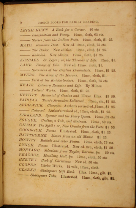 Second Page of Back Advertisements in Volume 1 of the 1852 George P. Putnam 16th Edition, Version 1