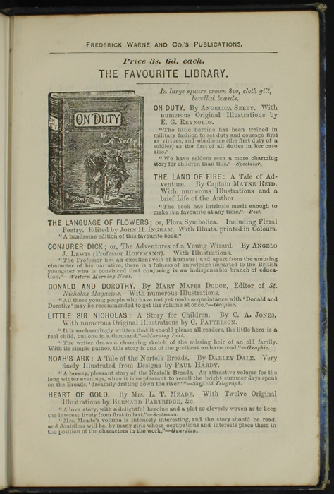 Third Page of Back Advertisements in [1890] Frederick Warne & Co. Reprint