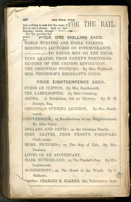 Back Advertisement in the [1853] Clarke, Beeton, & Co. Reprint, Version 1