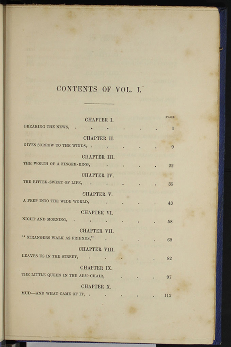 "First Page of the Table of Contents to Volume 1 of the 1852 James Nisbet, Sampson Low, Hamilton, Adams & Co. ""Second Edition"" Reprint"