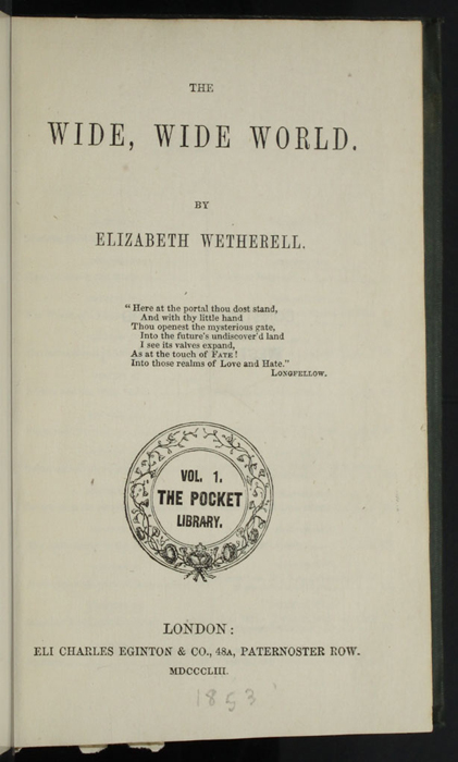 "Title Page to the 1853 Eli Charles Eginton & Co. ""Pocket Library"" Reprint"
