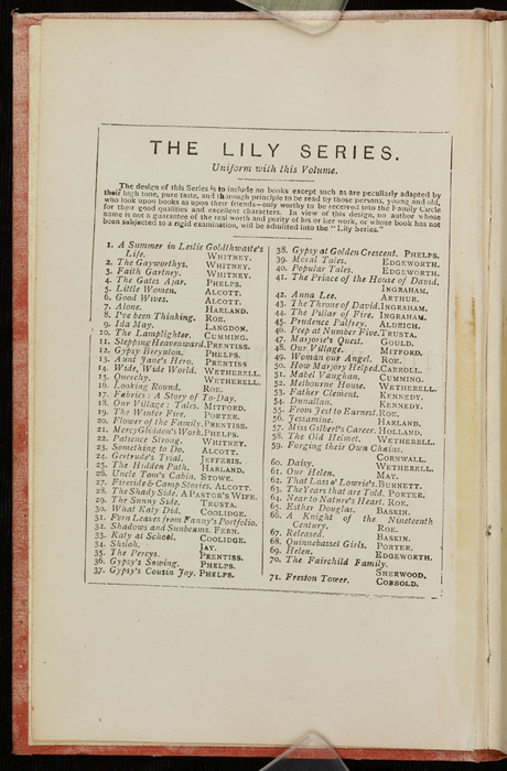 """First Page of Front Advertisements in the [1882] Ward, Lock & Co. """"Lily Series, Complete Edition"""" Reprint"""