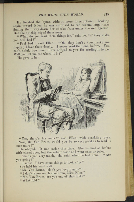"Illustration on Page 215 of the 1892 J. B. Lippincott Co. ""New Edition"" Reprint Depicting Mr. Van Brunt Reading to Ellen in Her Sickbed"