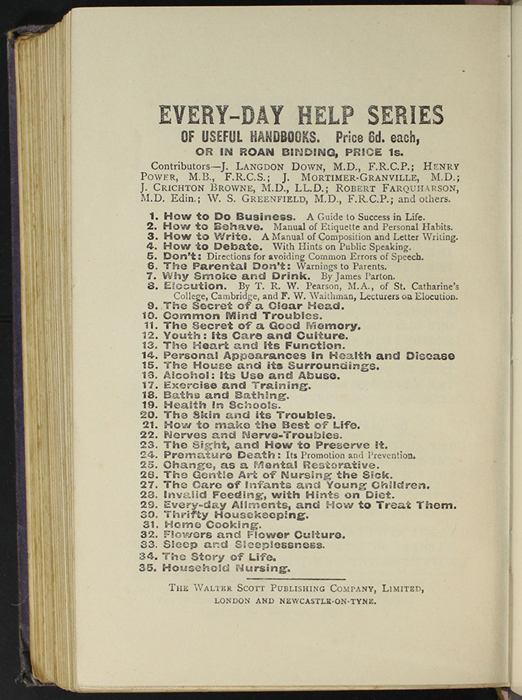 "Twelfth Page of Back Advertisements in the [1904] The Walter Scott Publishing Co. Ltd. ""Complete ed."" Reprint"