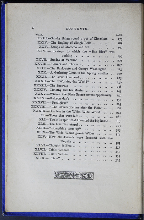 Second Page of the Table of Contents for the [1887] W. Nicholson & Sons Reprint, Version 2