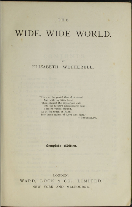"""Title Page to the [1903] Ward, Lock & Co., Ltd. """"Complete Edition"""" Reprint"""