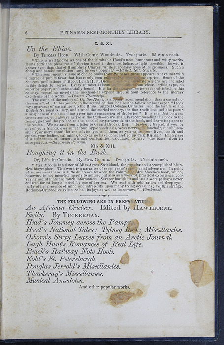 Second Page of Back Advertisements in Volume 2 of the 1852 George P. Putnam 16th Edition, Version 2