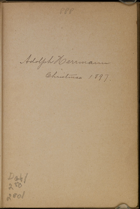 Recto of Front Endpaper with Inscription in Volume 2 of the [1903] The Mershon Co. Reprint