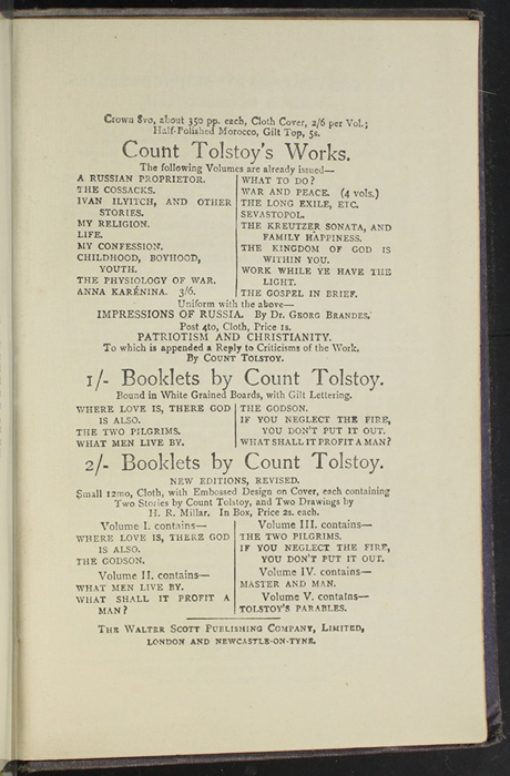 "First Page of Back Advertisements in the  [1904] The Walter Scott Publishing Co. Ltd. ""Complete ed."" Reprint"