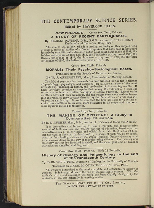 "Second Page of Back Advertisements in the [1904] The Walter Scott Publishing Co. Ltd. ""Complete ed."" Reprint"
