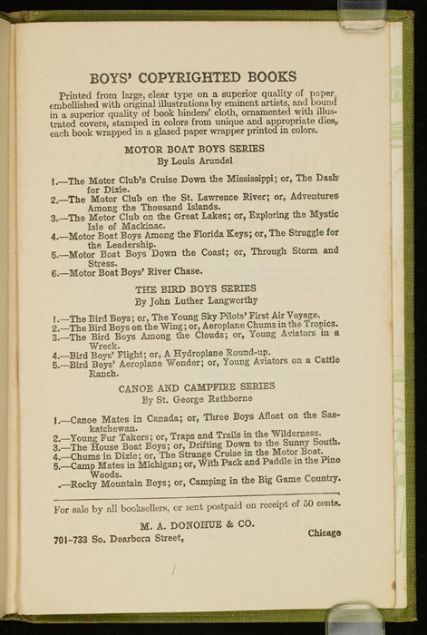 Third Page of Back Advertisements in the [1915] M. A. Donohue & Co. Reprint