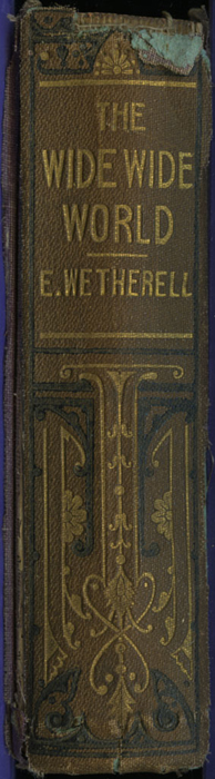 """Spine of the [1867] Milner & Sowerby """"The Wide, Wide World Library"""" Reprint"""