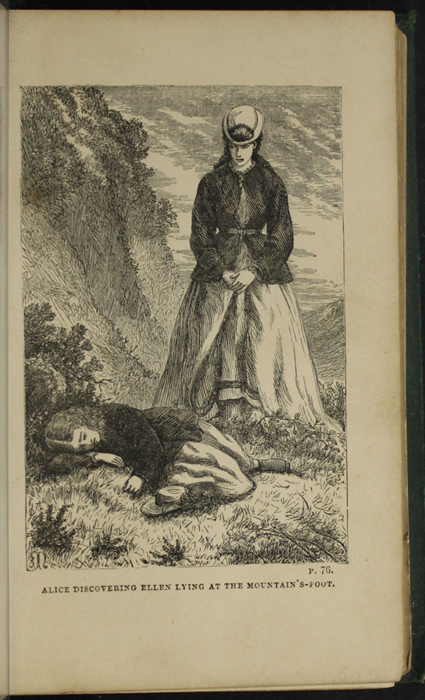 Illustration on Page 76c of the [1879] Milner & Sowerby Reprint, Depicting Alice Finding Ellen on the Cat's Back