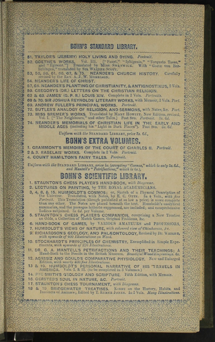 "Second Page of Front Advertisements in the 1853 H. G. Bohn ""Standard Library"" Reprint"