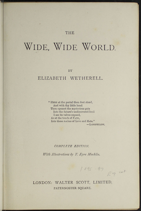 Title Page to the [1896] Walter Scott, Ltd. Reprint