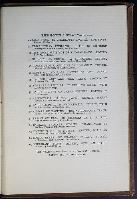 Fifth Page of Back Advertisements in the [1896] The Walter Scott Publishing Co. Ltd. Reprint