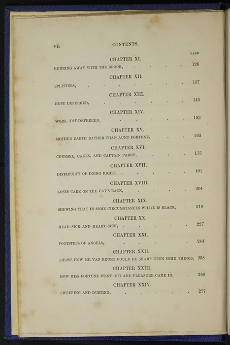 "Second Page of the Table of Contents for Volume 1 of the 1852 James Nisbet, Sampson Low, Hamilton, Adams & Co. ""Second Edition"" Reprint"
