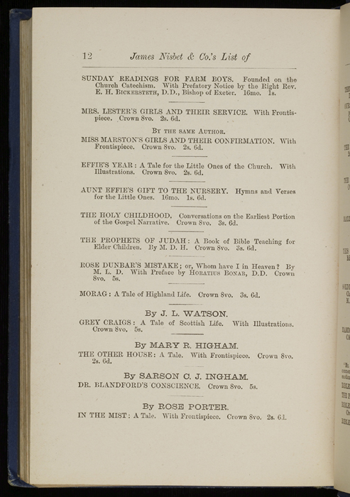 "Twelfth Page of Back Advertisements in 1886 James Nisbet & Co. ""New ed. Golden Ladder Series"" Reprint"