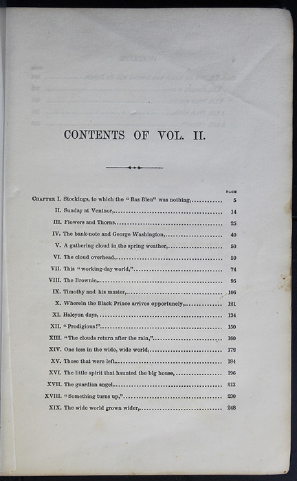 First Page of the Table of Contents for Volume 2 of the 1852 George P. Putnam 16th Edition, Version 2
