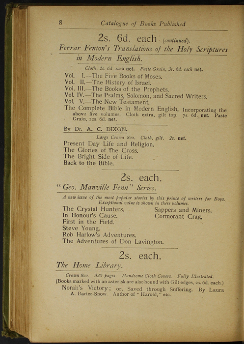 Eight Page of Back Advertisements in the [1910] S. W. Partridge & Co., Ltd. Reprint