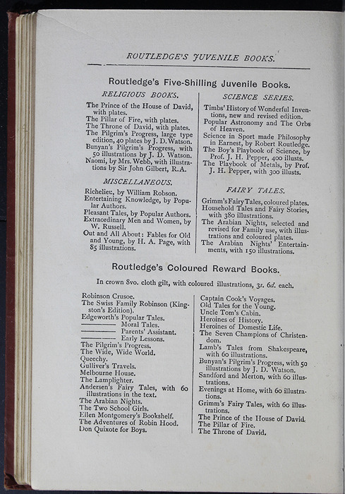 "Second Page of Back Advertisements in the [1885] George Routledge & Co. ""Ruby Series"" Reprint"