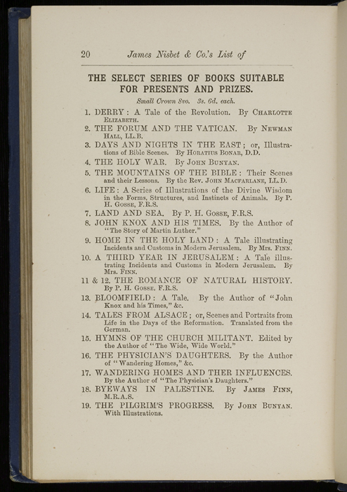 "Twentieth Page of Back Advertisements in 1886 James Nisbet & Co. ""New ed. Golden Ladder Series"" Reprint"