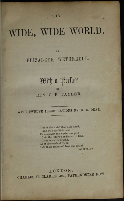 Title Page to the [1853] Clarke, Beeton & Co. Reprint, Version 1