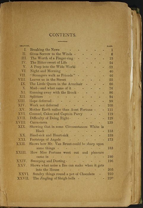 First Page of the Table of Contents for the [1904] S. W. Partridge & Co. Reprint