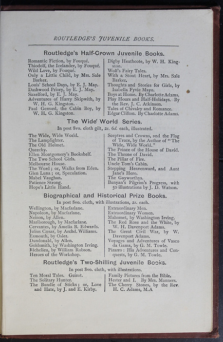 "Ninth Page of Back Advertisements in the [1885] George Routledge & Co. ""Ruby Series"" Reprint"