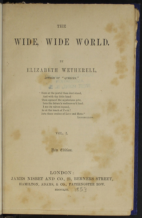 "Title Page to Volume 1 of the 1853 James Nisbet, Hamilton, Adams & Co. ""New Edition"" Reprint"