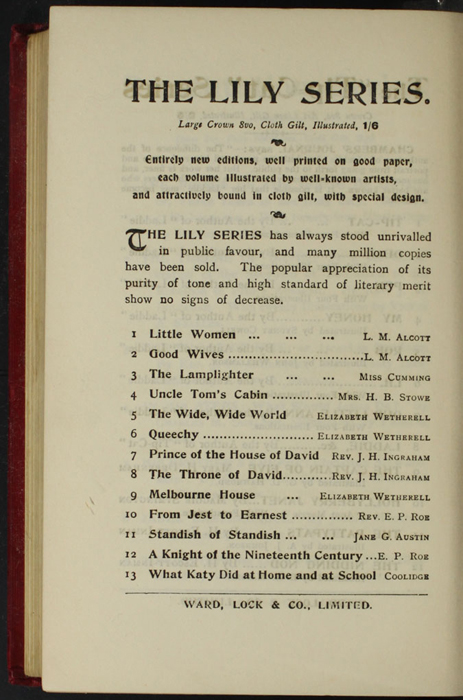 """Fourth Page of Back Advertisements in the [1902] Ward, Lock, & Co., Ltd. """"Complete Edition"""" Reprint"""